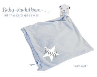 Light blue cushion with bear | personalized | Grape seed cushion | Heat cushion | Plush pillow with baby name | Gift Birth Baptism