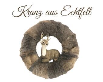 Noble wreath made of real fur | Wreath | Advent Decoration | Christmas | Fur | Lantern | Decoration | Fur wreath fur wreath