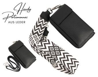 Mobile phone wallet | Purse | Purse | Genuine Leather | Shoulder bag | Phone case | narrowor or XXL belt | Ethnic black and white