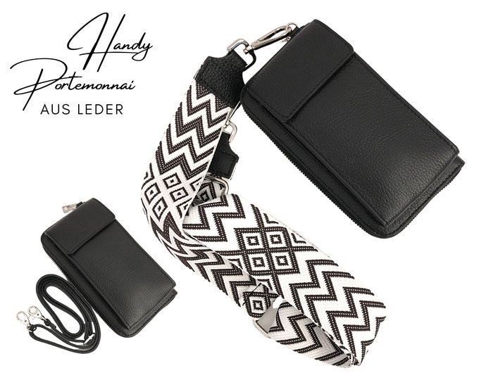 Mobile phone wallet   Purse   Purse   Genuine Leather   Shoulder bag   Phone case   narrowor or XXL belt   Ethnic black and white