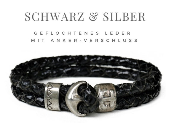 Black Leather Wrap Bracelet | The Anchor | Silver | Gag | Braided Leather | Leather Bracelet | Maritime | Shiny