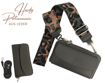 Mobile phone wallet | Purse | Wallet | Real leather | Shoulder bag | Mobile phone | narrow or XXL strap | grey Leo