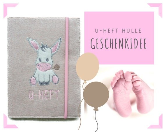Beige U-yeast sleeve in felt | Donkey application | Embroidery | Embroidered case examination booklet | U-booklet | Pink