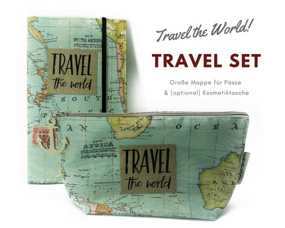 Travel Set | Travel Etui & Cosmetic Bag | World Map | Document Folder | Traveller | Reisehülle | Passport Case | Portfolio | Map | Atlas