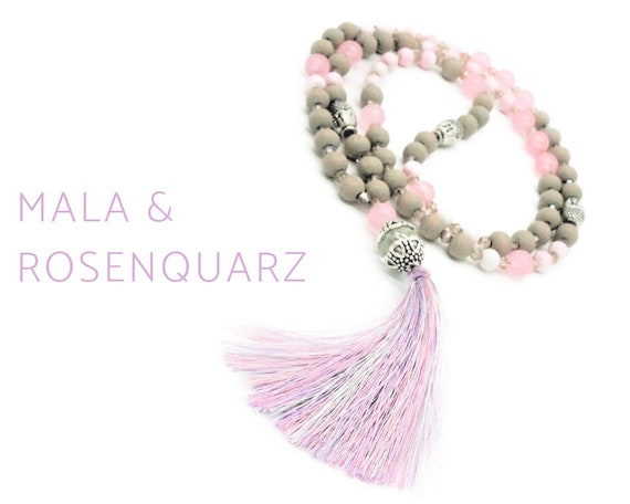 Mala necklace with rose quartz beads and silk tassel in light purple | Buddha | Glass, wood, acrylic, Metal beads | Prayer Chain | Mala