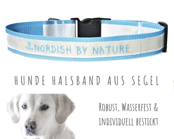 Light blue sail dog collar | NORDISH BY NATURE | Embroidery | Strap band | Half-circumference 60-65 cm | 4 cm wide