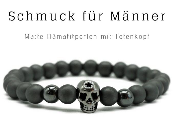 Silver grey beaded bracelet   Hematite   Skull   Skull Skull   Men's jewellery   Men's bracelet   Gift for husband   Bracelet   Father's Day