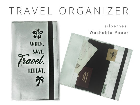 Silver Journey Case | Travel Organizer for the Journey | Document Folder | Gift for Globetrotter | Passport Case | Washable Paper