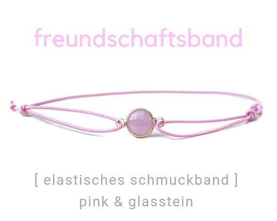 Elastic Friendship Band | Jewelry Band | Pink & Gold | Stone | Rubber | Sliding knots | Wish Band | Heart