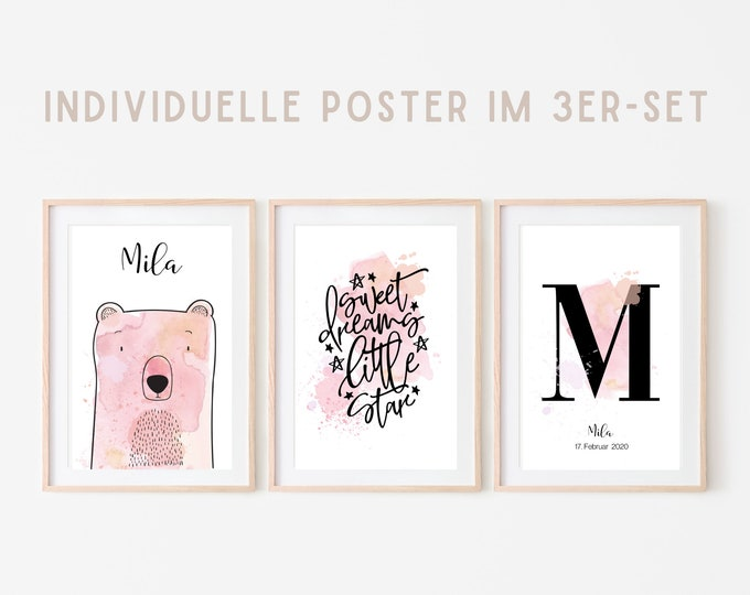 Birth Poster in Set of 3   Baptism Gift   Customized Print   Letter   Watercolor   Saying   Animal image   Picture for the baby nursery