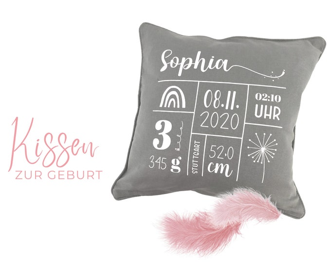 Baby Birth Dates Pillow   Cotton pillowcase   40 x 40 cm   grey cushion with white lettering   Birth pillow   Name pillow