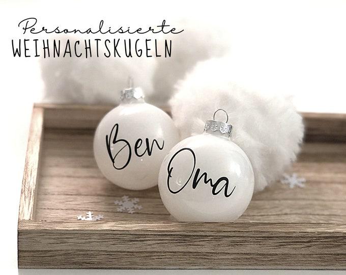 White personalized Christmas ball | 6 cm diameter | black and white | shiny