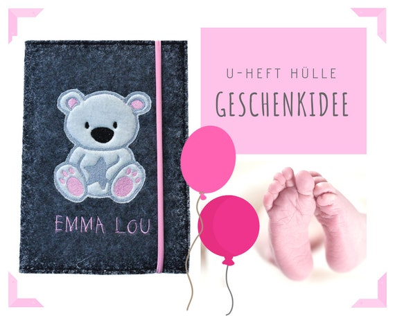 U-Hefthülle | Felt | Wish name | Bear | Felt sleeve | Case school notebook | Gift Birth Baptism Baby Party | Individually