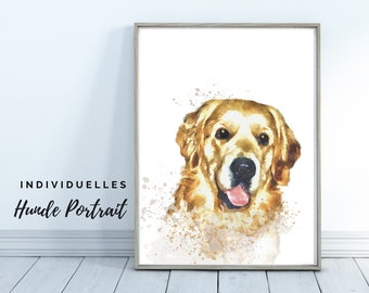 Dogs Portrait | Digital Print in Watercolor Style | User-defined image of your dog | Animal portrait after photo | Gift dog owner