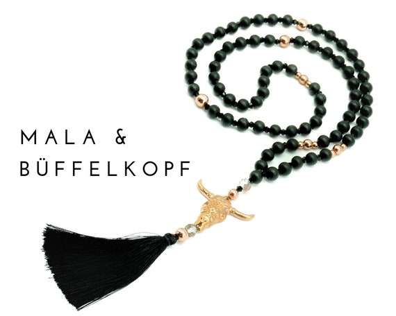 Black Mala necklace with roségolde buffalo skull of wood, glass and hematite beads | Buffalo Head | Prayer Chain | Pearl necklace with tassel