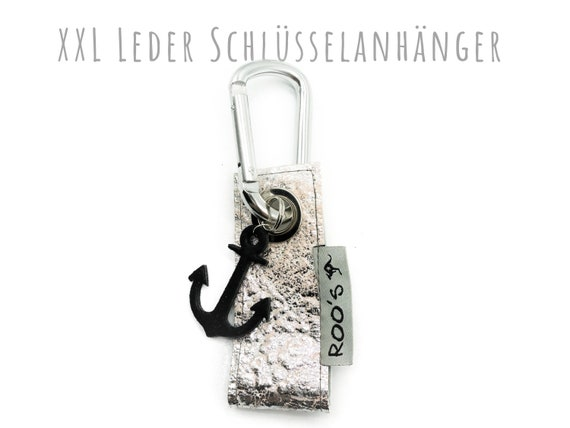 XXL Keyring in silver leather | Stars | Large Karabiner | Black leather star | Star trailer