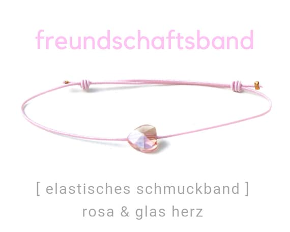 Elastic Friendship Band   Jewelry Band   Pink   Polished Heart   Rubber   Sliding knots   Wish Band   Heart