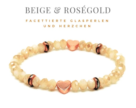 Elastic Bracelet | Beige & Rose Gold | Glass and Metal Beads | Heart and Spacer | Elastic Bracelet | Faceted beads