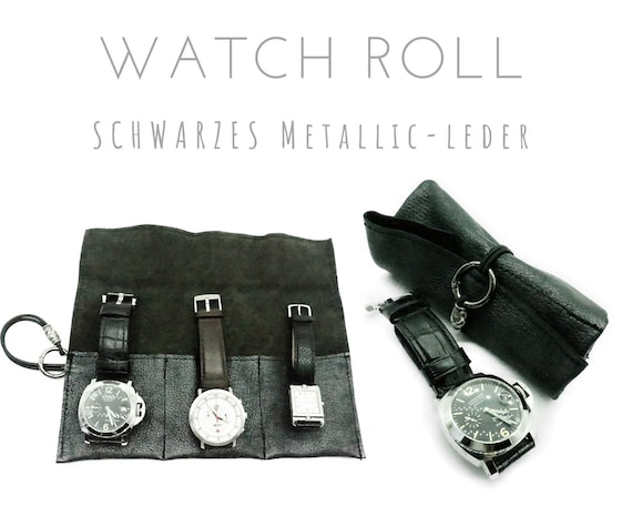 Black Watch Roll | Metallic leather | Gift for Men | Watches Roll 3 Watches | Travel wristwatches storage | Watch roll | Leather roll