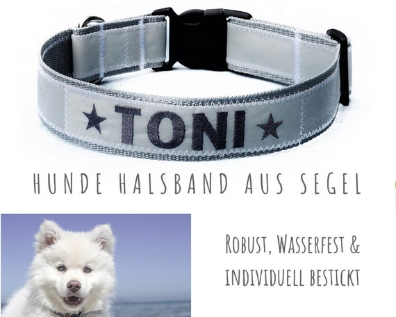 Dog Collar | Sail | NAME | grey and white | 4 cm |Upcycling | Customizable for every dog. Configure your own collar.