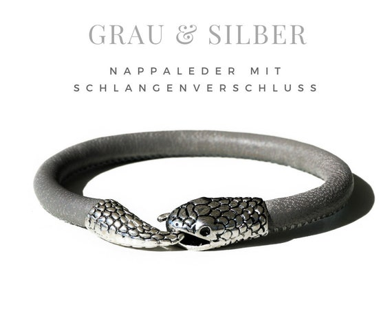 Grey Leather Bracelet | Snake | Nappa Leather | Silver Plated Closure | Round Quilted Leather Strap | Bracelet | Snake Lock