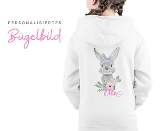 Bunnies ironing picture for children | Bunny | by name | personalized bracket patch | Pillow | T-shirt | DIY | Motive for ironing on