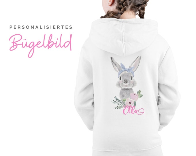 Bunnies ironing picture for children   Bunny   by name   personalized bracket patch   Pillow   T-shirt   DIY   Motive for ironing on