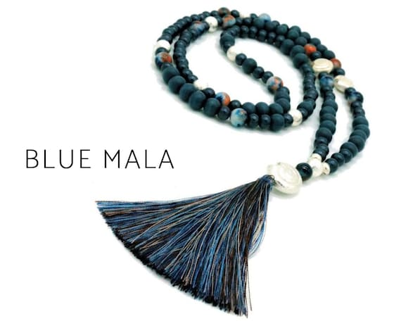 Blue Mala Necklace | Jade Beads | Boho Style | Blue-Brown Silk tassel | Blue Beads | Silver | Prayer Chain | 108 | Yoga | Mala