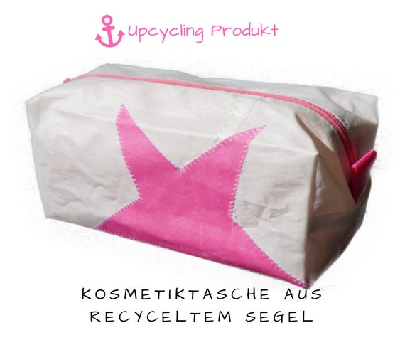 Cosmetic bag PINK STAR | sailcloth | upcycling | white pink | Make-up bag | Bag | small toilet bag | maritime bag