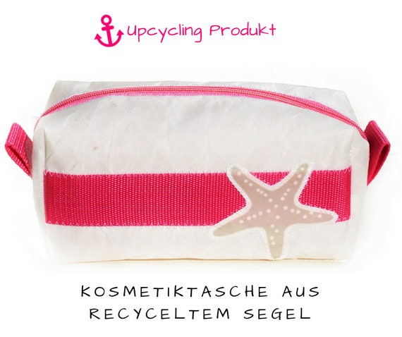 Cosmetic Bag | Original Sails | Starfish Application | Bag Pink White | upcycling | Makeup Bag | Sailing Bag | Canvas | Star
