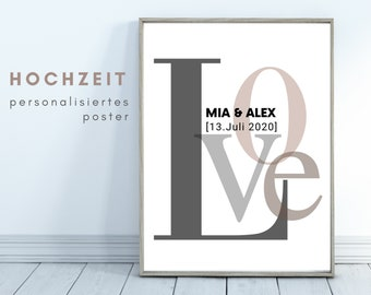 Wedding Poster | personalized gift | Valentine's Day | Newlyweds | individually | LOVE | Typo | Writing | Design | Wedding