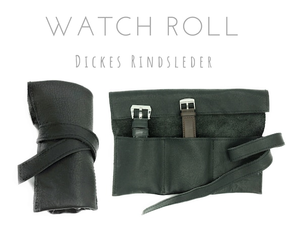Black 3-seam Roll of thick Cowhide | Gift Men | Watch bag | Travel Wristwatches Case | Watch Roll | Leather Roll