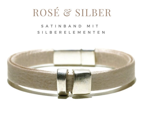 Roségoldente satin bracelet with silver-plated elements | Magnetic closure | Silk | Rosé with silver | Taupe