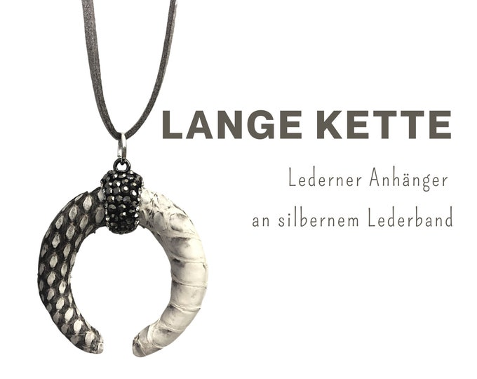 Long chain with leather pendant   Crescent moon   Snake leather   silver leather strap   Chain pendant with glitter in beige and grey
