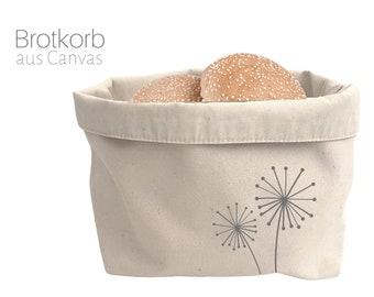 "Beiger Canvas Utensilo | Fabric basket natural | Storage | Bread basket | with motif ""Dandelions"""
