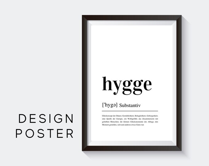 Design Poster |  HYGGE | Definition | Digital Print | Typo Image | Art print | Duden Phonetic | Coziness | Happy