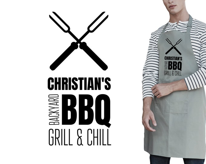Men's grill apron personalized   Grill & Chill   BBQ apron for men with name   white, grey   labeled   Gift Dad Father