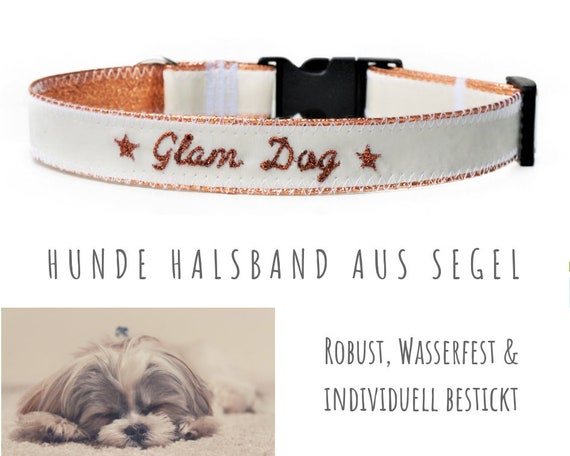 Roségolden dog collar with sail | GLAM DOG embroidery | 2.5 cm wide | 52-57 cm long | Faux leather | Sailing collar | Upcycling