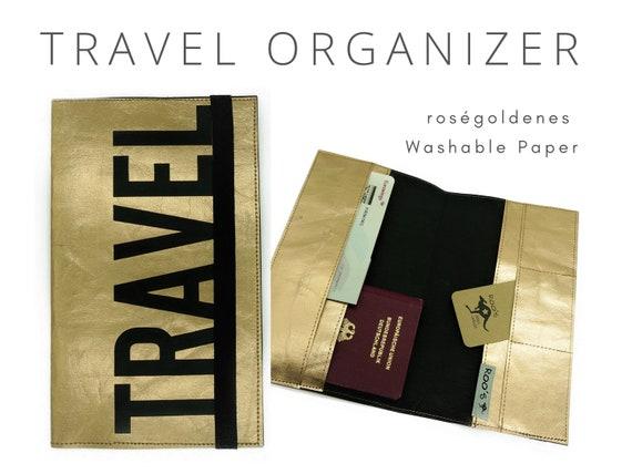Roségoldener Travel Organizer | Travel Documents Etui | Document folder | Traveler | Reisehülle | Passport Case | Travel case Washable Paper