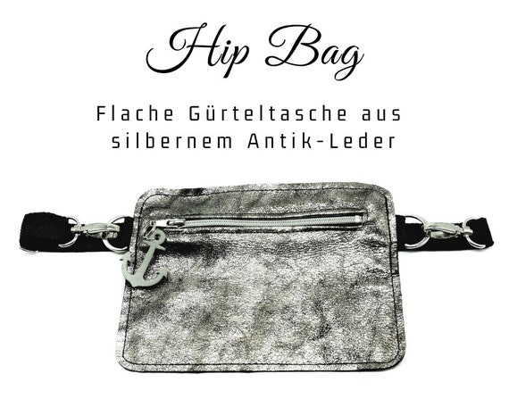 Silver hip pocket | Flat belt bag in leather | Belly ash | Cross Body Leather Bag | Hip Bag Bag Bag with Belt | Leather anchor