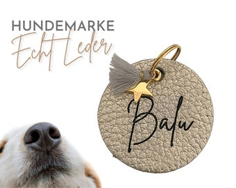 Golden dog tag | Dog trailer | Dog jewelry made of leather | Name | personalized ID brand | Leather Tag Engraved Laser Font