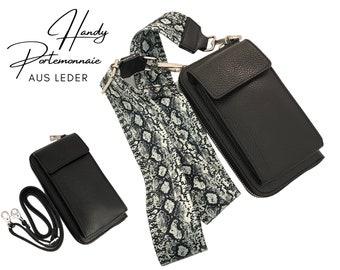 Black mobile phone wallet | | Wallet | wallet Genuine leather | | phone case narrow or XXL belt snake in black white phyton