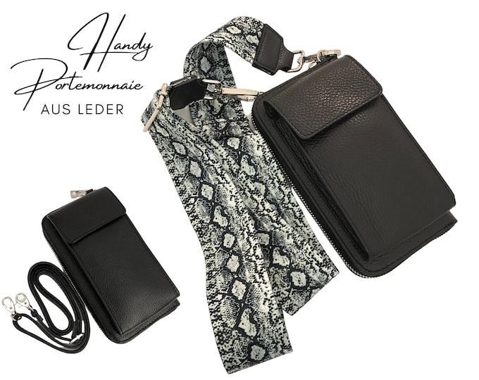 Black mobile phone wallet     Wallet   wallet Genuine leather     phone case narrow or XXL belt snake in black white phyton