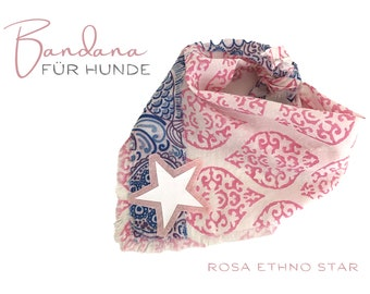 Dogs scarf | Bandana | white with pink | Ethno patterns | Triangular cloth for binding | pink white | Star | Gr.M
