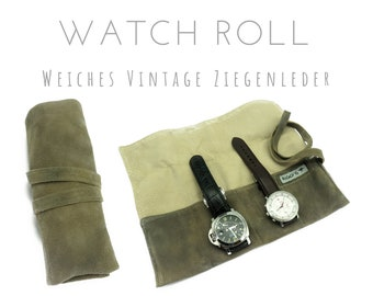 Khaki beige 4-man watch roll made of goat leather | Gift for Men | Wristwatches Roll 4 Watches | Travel Watches Case | Watch roller leather