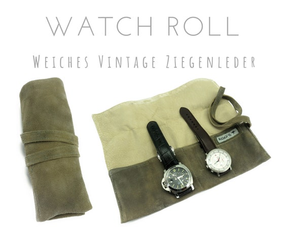 Khaki beige 4-seer watch roll in goat leather | Gift for Men | Wristwatches Roll 4 watches | Travel Watches Case | Watch roll leather