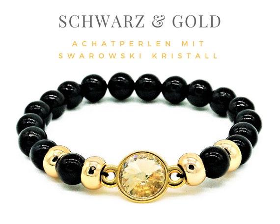 Elastic Bracelet | Black & Gold | Agate and Metal Beads | Large Swarowski Crystal | Pearl Bracelet