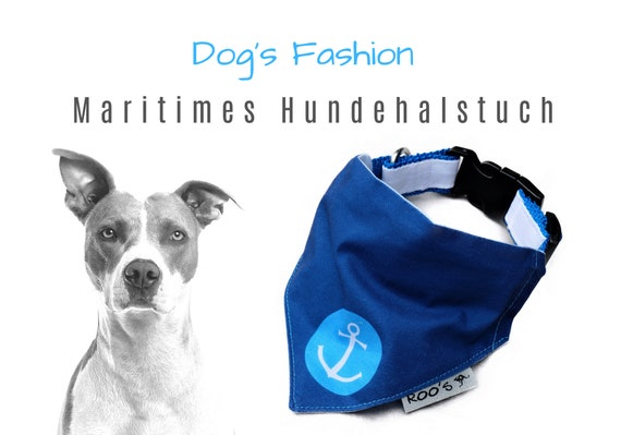 Maritime dog neckerchief with anchor | dark blue with turquoise | Cotton Dog Bandana | is attached to the collar