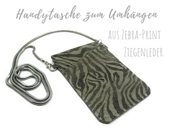 Mobile phone bag for cloting | Crossbody phone case | Zebra | Mobile phone handheld bag | Cross Body leather sleeve | Mobile phone chain | Gift