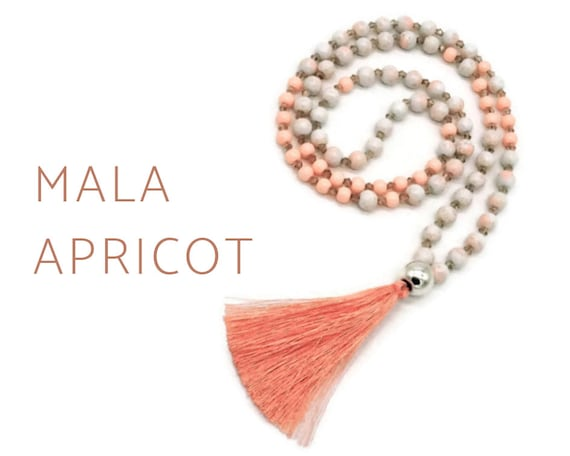 Apricot Mala Necklace | Salmon pink pearl necklace with faceted glass beads, acrylic beads | Prayer Chain |  Jewelry Bead